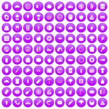 100 meal icons set purple. 100 meal icons set in purple circle isolated vector illustration Stock Photography