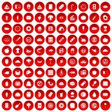100 meal icons set red. 100 meal icons set in red circle isolated on white vectr illustration Royalty Free Stock Image