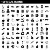 100 meal icons set, simple style Royalty Free Stock Photography