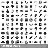 100 meal icons set, simple style. 100 meal icons set in simple style for any design vector illustration Stock Photography