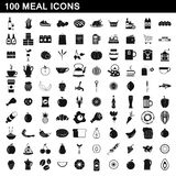 100 meal icons set, simple style. 100 meal icons set in simple style for any design illustration vector illustration