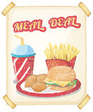 Meal. Illustration of a fast food meal Stock Images