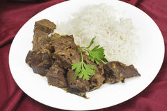 Meal of Indian fried liver Royalty Free Stock Images
