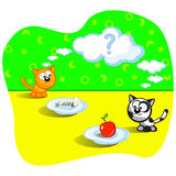 Meal for kitty. Two cats eating. Beside one fish bones. Beside other apple. Perplexity. Question. Cartoon Vector scene. Humor Royalty Free Stock Photography
