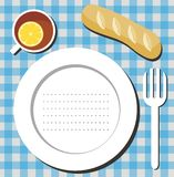 Meal list. Illustration with table setting background Royalty Free Stock Photos