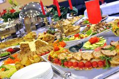 Meal in luxery hotel. With many diferent food to choose Royalty Free Stock Photos
