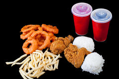 Meal Package Chicken Onion Ring French Fries Rice Drink Royalty Free Stock Image