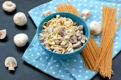 Meal from pasta spaghetti, mushroom, cottage cheese and parsley in blue bowl on dot cloth on black background Royalty Free Stock Photo