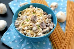 Meal from pasta spaghetti, mushroom, cottage cheese and parsley in blue bowl on dot cloth on black background Royalty Free Stock Image