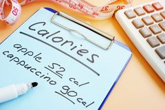 Meal plan and calorie counting for diet. Meal plan and calorie counting list for diet stock images