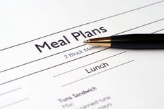 Meal plans Royalty Free Stock Photos