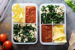 Meal prep or lunch for work. Healthy meal prep or lunch for work and school, brown rice with kale, chips and salsa Stock Image