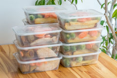 Meal prep. Stack of home made roast dinners. Meal prep. Stack of home cooked roast chicken dinners in containers ready to be frozen for later use Royalty Free Stock Photo