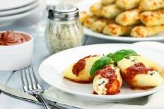 Meal of Ricotta Stuffed Shells Royalty Free Stock Photo