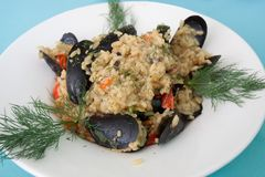 Meal Risotto Mussels Royalty Free Stock Photo
