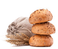 Meal sack, bread rolls and ears bunch still life  cutout Royalty Free Stock Photos