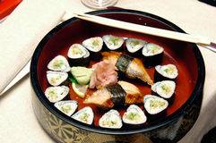 Meal from seafood. Traditional Japanese meal from seafood Stock Photo