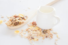 Meal set of muesli and milk Stock Image