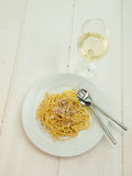 Meal of spaghetti carbonara Royalty Free Stock Photos