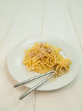 Meal of spaghetti carbonara Stock Photo