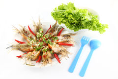Meal of spicy dressed salad prawn Royalty Free Stock Images