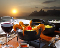 Meal at sunset stock photo