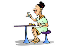 Meal time. Illustration of a businesswoman eat in office table Stock Photography