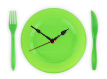 Meal time. Green clock-plate on white Royalty Free Stock Photo