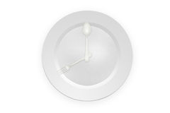 Meal time (breakfast). Illustration of spoon, folk and plate in form of clock royalty free illustration