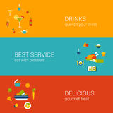 Meal time concept flat icons banners template set. Flat drink and meal time concept. Vector icon banners template set. Drinks, cocktail, wine, best and perfect Royalty Free Illustration