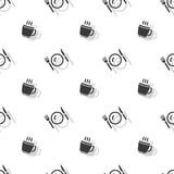 Meal Time Cup Of Hot Drink And Cutlery Seamless Clear Pattern Royalty Free Stock Photos