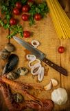 Meal time. Seafood meal preparation in  process Royalty Free Stock Image