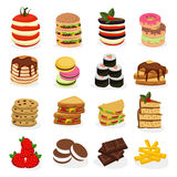 Meal Tower Icon Set. With different types of food folded in towers form vector illustration Stock Photos