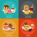 Meal Tower Square Icon Set Stock Photography