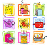 Meal and ware doodle set vector illustration