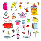 Meal and ware doodle set Royalty Free Stock Images
