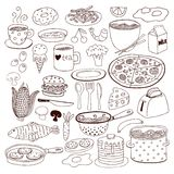 Meal and ware doodle set Stock Photos