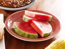 Meal with watermelon on a plate Stock Photography