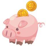 Mealheiro bonito dos desenhos animados com moedas Ilustração Stock