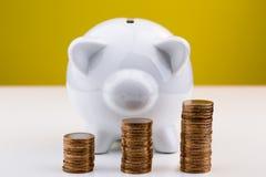 Mealheiro branco com a pilha de moedas Imagem de Stock Royalty Free