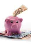Mealheiro com conta do euro cinqüênta Imagens de Stock Royalty Free