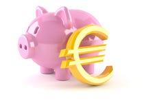 Mealheiro com euro- símbolo de moeda Imagens de Stock Royalty Free