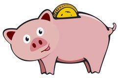 Mealheiro com moeda Economia do ícone ou acumulação de dinheiro, investimento Mealheiro do ícone no estilo liso, isolado do ilustração stock