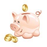 Mealheiro com moedas Fotos de Stock Royalty Free
