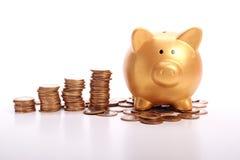 Mealheiro dourado com economias nas moedas do dinheiro brasileiro Fotos de Stock