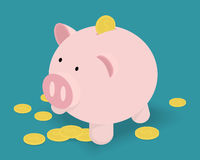 Mealheiro e moedas douradas Ilustração do vetor Foto de Stock