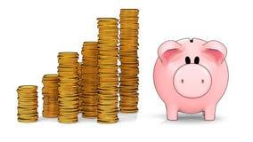 Mealheiro e pilhas crescentes de moedas no estilo da proteção do cel - ilustração 3D imagens de stock