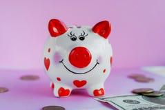 Mealheiro engraçado e no fundo cor-de-rosa Imagem de Stock