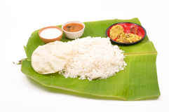 Meals. South indian meals on banana leaf stock photography