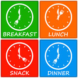 Meals. Having different meals at different times Stock Photo